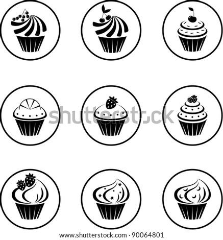 Cupcakes set. vector - stock vector