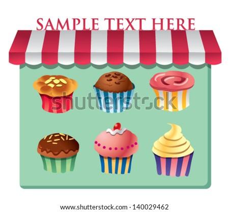 cupcakes vector - stock vector