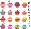 Cupcakes. vector, color full, no gradient - stock vector