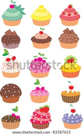 Cupcakes. vector, color full, no gradient - stock vector
