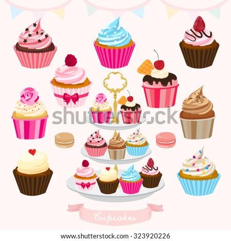 Cupcakes Vector Design Illustration - stock vector