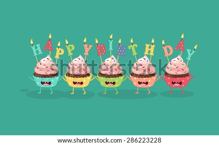 Cupcakes Candle Happy Birthday Comic Characters Stock