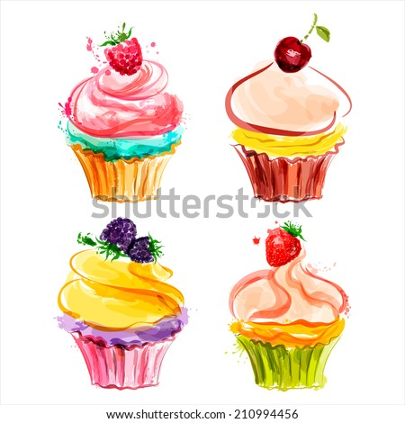 Cupcakes with cream and berries. Vector illustration