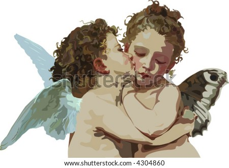 Cupid and Psyche as children - stock vector