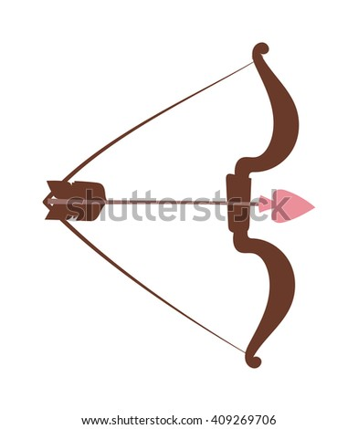 Cupid arbalest vector illustration. Crossbow angel bow isolated on white background. Crossbow arbalest vector icon illustration. Crossbow cupid angel bow and heart arrow