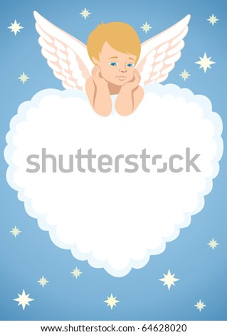Cupid Frame: Cupid, lying on a cloud, shaped like a heart. You can place text or picture in the cloud. No transparency used. - stock vector