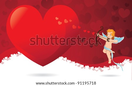 Cupid Heart background EPS 8 vector, grouped for easy editing. No open shapes or paths. - stock vector