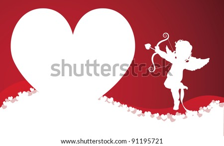 Cupid Heart silhouette background EPS 8 vector, grouped for easy editing. No open shapes or paths. - stock vector