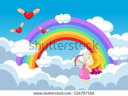cupid in the clouds.vector