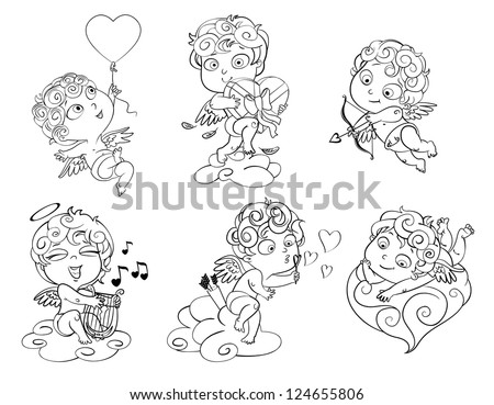 Cupid lies on a cloud, flying in a balloon in the shape of heart, holding a box of chocolates, ready to shoot his arrow, playing music on the lyre, blow bubbles. Coloring book. Vector illustration - stock vector