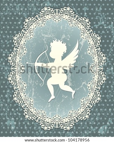 Cupid medallion with lace frame. EPS 10 illustration in grunge style.