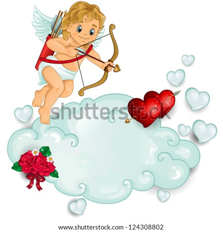Cupid piercing two hearts above the clouds-transparency blending effects and gradient mesh-EPS 10 - stock vector