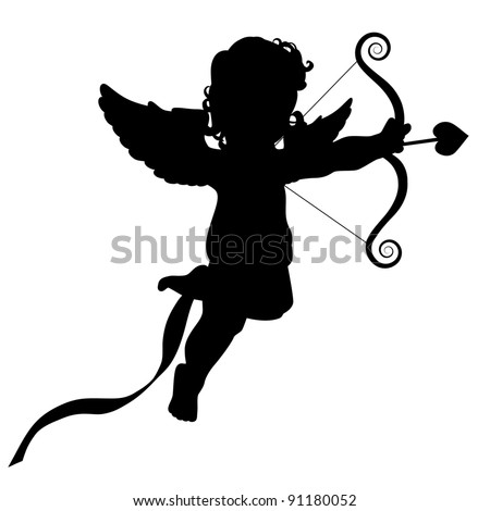 Cupid silhouette EPS 8 vector, grouped for easy editing. - stock vector