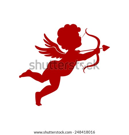 Cupid silhouette vector illustration - stock vector