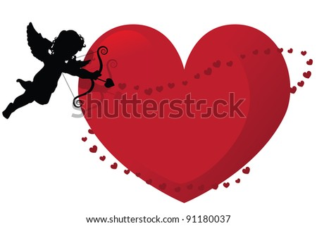 Cupid silhouette with heart frame EPS 8 vector, grouped for easy editing. - stock vector
