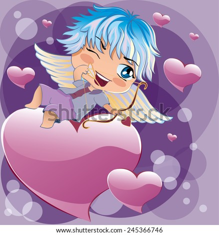Cupid takes aim at a target - stock vector