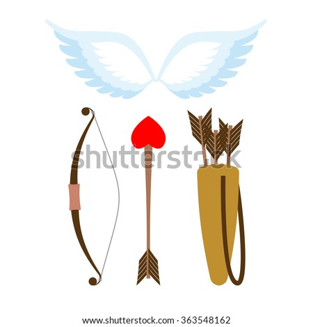 Cupid weapons set . Bow and arrow with heart. Quiver with arrows. Angel wings. Cupids wings. - stock vector