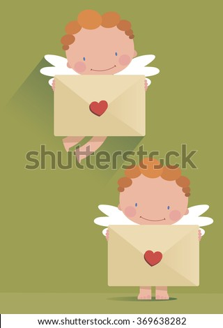 Cupid with a romantic message in the hands. - stock vector