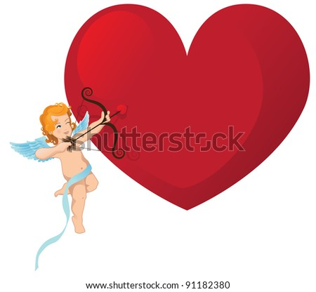 Cupid with Big Heart Cupid shoots his arrow at a big heart, with space for your message. EPS 8 vector, grouped for easy editing. - stock vector