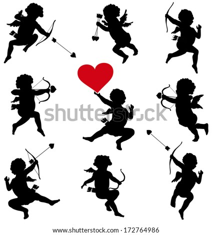 Cupid with bow and arrow vector silhouettes set - stock vector