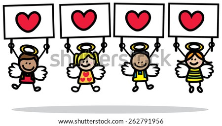 Cupids holding banner - stock vector