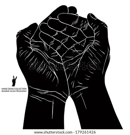 Cupped empty hands with place for some small object, detailed black and white vector illustration. - stock vector
