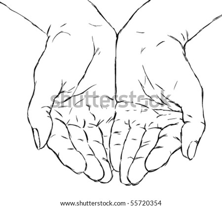 cupped hands - stock vector