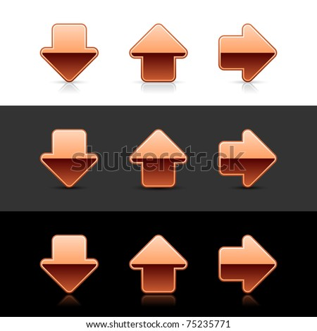 Cuprum arrow button web 2.0 icon with shadow and reflection on white, gray and black - stock vector
