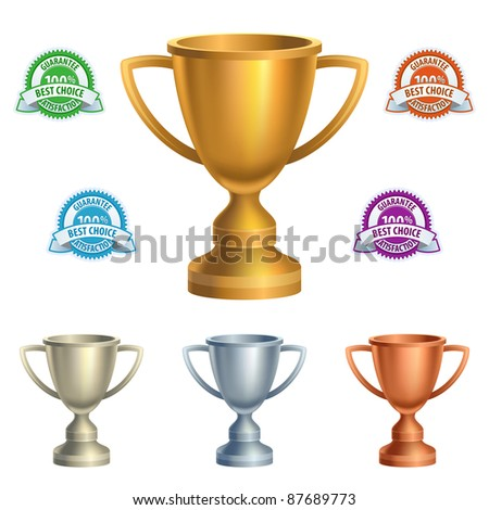 Cups and guarantees in various colors - stock vector