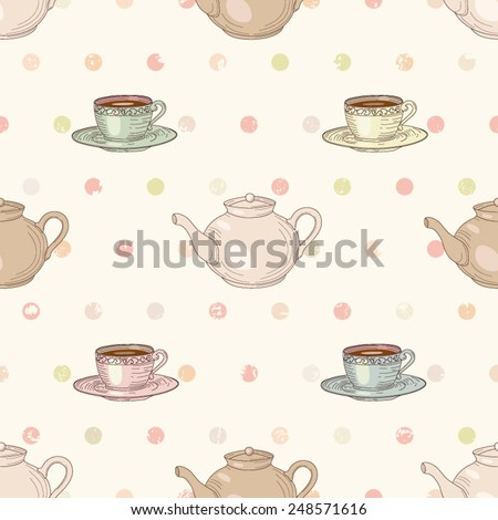 Cups and teapots with tea on polka dot background seamless pattern. Vintage engraving style - stock vector