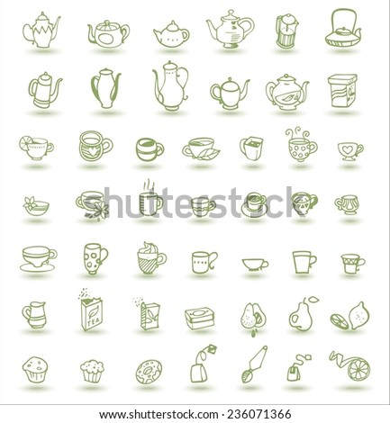 cups, cupcakes, fruits and teapots doodles - stock vector