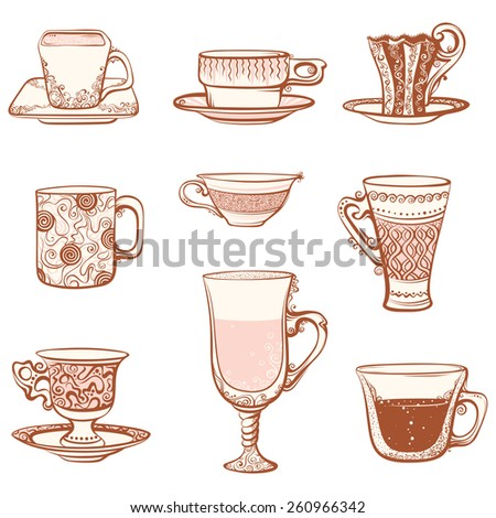Cups icon set. Various ornate cups of tea/coffee. Isolated on white background.  - stock vector