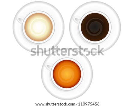 Cups of coffee and tea - stock vector