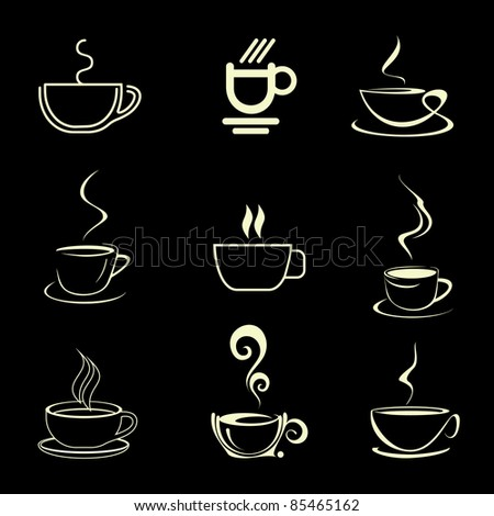 Cups of Coffee - set of isolated vector icons. On black background. - stock vector