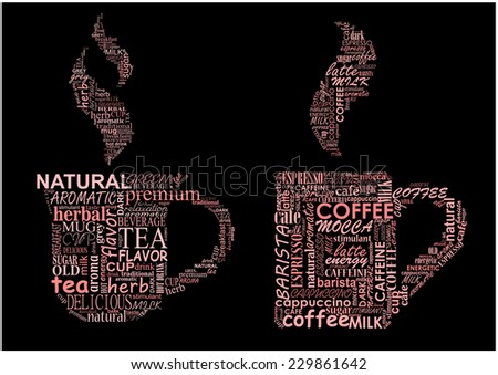 Cups of hot steaming coffee and tea formed from text clouds with assorted words pertaining to each beverage over a dark background - stock vector