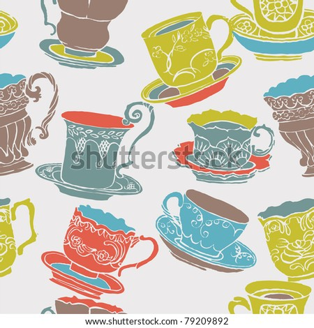 cups. seamless print pattern
