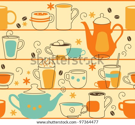Cups Seamless. Seamless pattern with teapot and cups in retro-style - stock vector