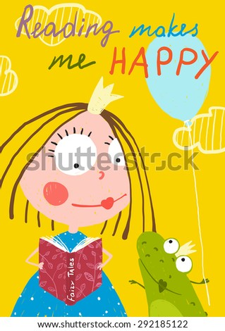 Curious Funny Little Girl Reading Fairy Tale Book to a Frog. Colorful drawing for children holiday greeting card or book. - stock vector