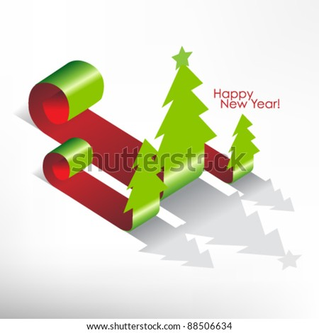 curl christmas tree label vector design - stock vector