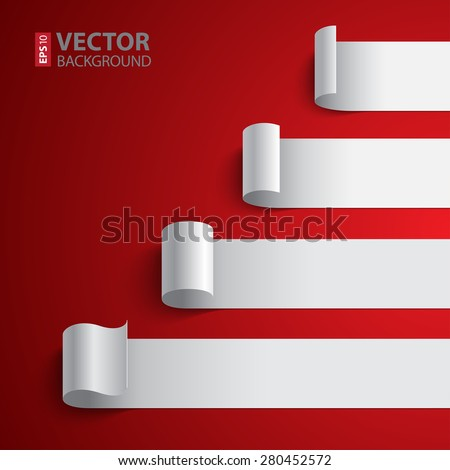 Curled blank white paper stripe banners chart on dark red background. RGB EPS 10 vector illustration - stock vector