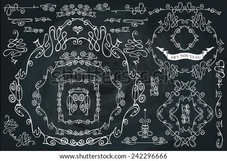 Curled calligraphic design elements set.Swirling decor ,frame,borders,ribbon,dividers,corner,arrows on Chalkboard.For Wedding  invitation,Valentine card,restaurant menu.In style of art Nouveau.Vector. - stock vector