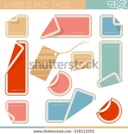 Curled corner tags - stock vector