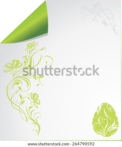 Curled paper sheet with ornamental Easter elements. Vector - stock vector