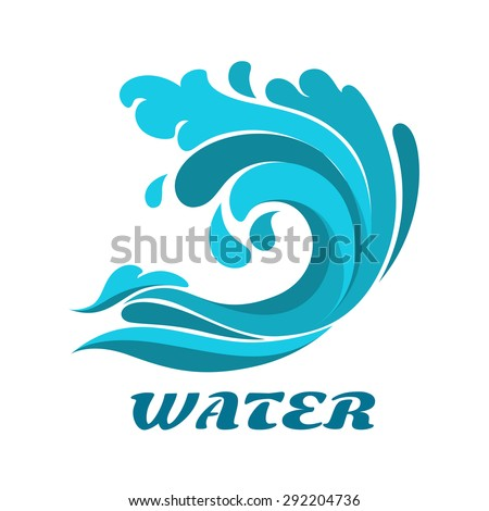 Curling breaking ocean wave abstract symbol with caption Water forenvironment or nature design - stock vector