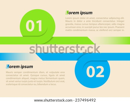 Curling ribbon infographic template with 2 options and details  - stock vector