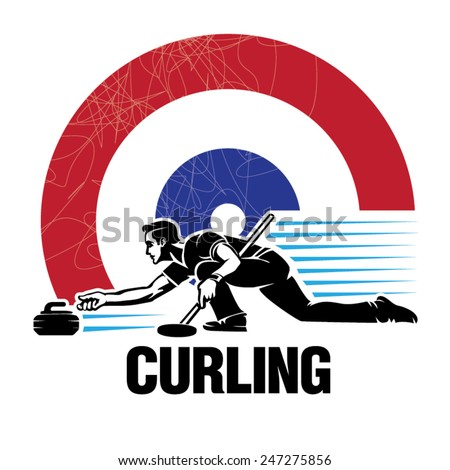 Curling sport. Vector illustration in the engraving style - stock vector