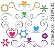 curls and hearts vector ornaments over white background - stock vector
