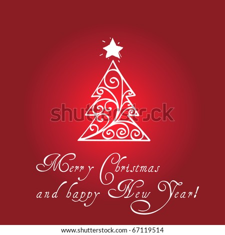 Curly Christmas tree card - stock vector