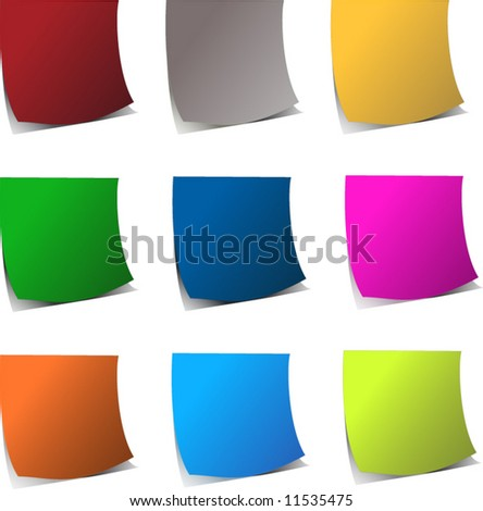 Curly edge colorful realistic vector papers - stock vector
