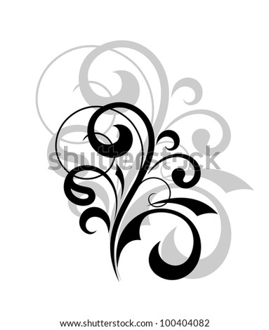 Curly floral design element. Jpeg version also available in gallery
